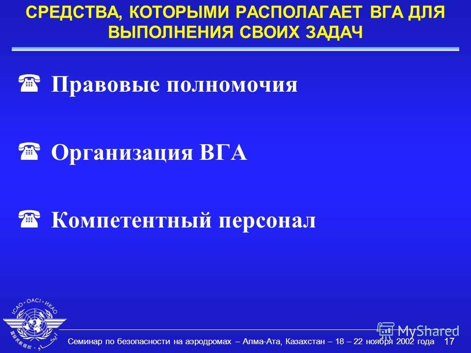Семинар по безопасности на аэродромах – Алма-Ата, Казахстан – 18 – 22 ноября 2002 года 17 СРЕДСТВА, КОТОРЫМИ РАСПОЛАГАЕТ ВГА ДЛЯ ВЫПОЛНЕНИЯ СВОИХ ЗАДАЧ (Правовые полномочия (Организация ВГА (Компетентный персонал