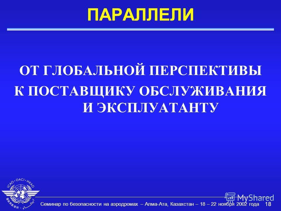 Семинар по безопасности на аэродромах – Алма-Ата, Казахстан – 18 – 22 ноября 2002 года 18 ПАРАЛЛЕЛИ ОТ ГЛОБАЛЬНОЙ ПЕРСПЕКТИВЫ К ПОСТАВЩИКУ ОБСЛУЖИВАНИЯ И ЭКСПЛУАТАНТУ