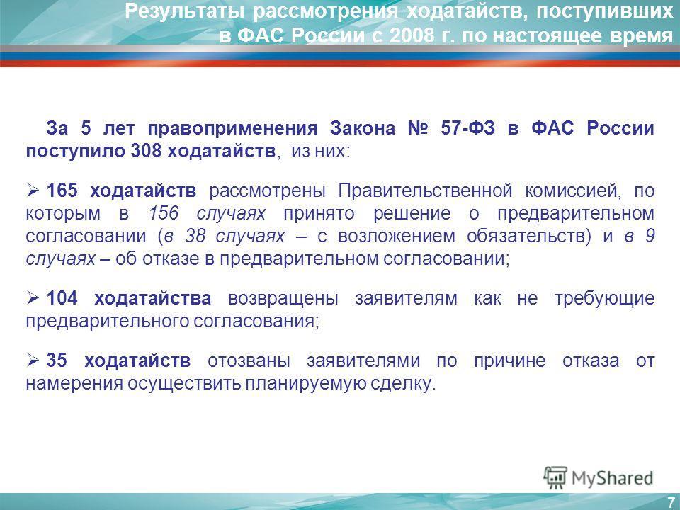 Результаты рассмотрения ходатайств, поступивших в ФАС России с 2008 г. по настоящее время За 5 лет правоприменения Закона 57-ФЗ в ФАС России поступило 308 ходатайств, из них: 165 ходатайств рассмотрены Правительственной комиссией, по которым в 156 сл