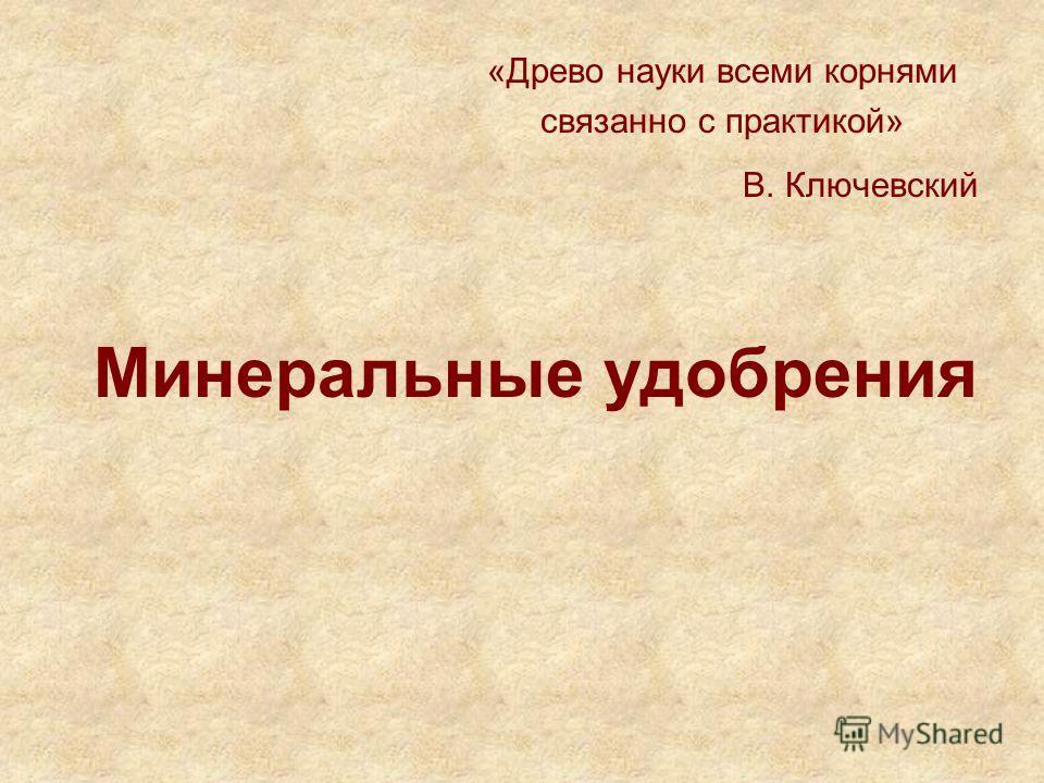 Минеральные удобрения «Древо науки всеми корнями связанно с практикой» В. Ключевский