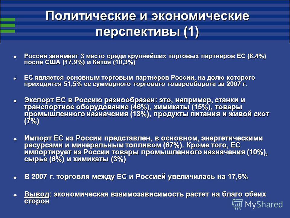 Политические и экономические перспективы (1) Россия занимает 3 место среди крупнейших торговых партнеров ЕС (8,4%) после США (17,9%) и Китая (10,3%) Россия занимает 3 место среди крупнейших торговых партнеров ЕС (8,4%) после США (17,9%) и Китая (10,3