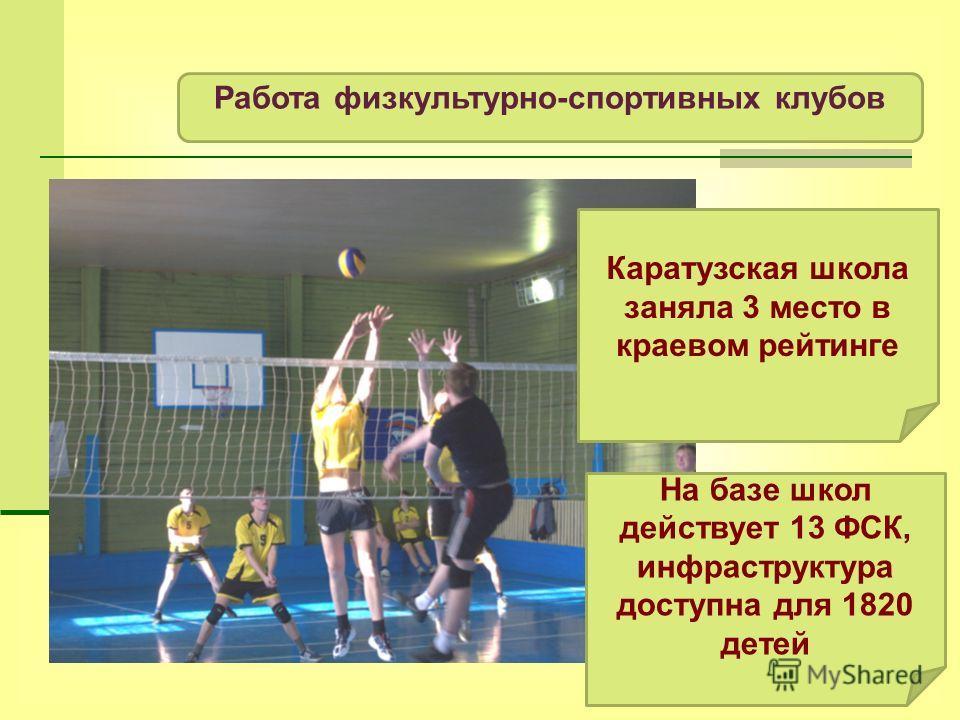 Работа физкультурно-спортивных клубов На базе школ действует 13 ФСК, инфраструктура доступна для 1820 детей Каратузская школа заняла 3 место в краевом рейтинге