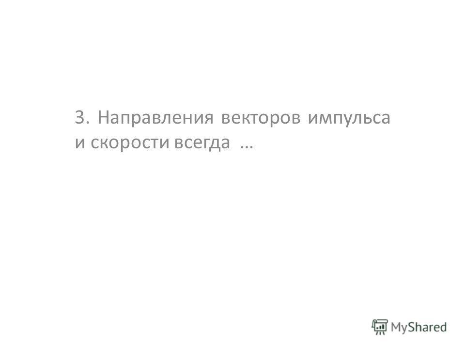 3. Направления векторов импульса и скорости всегда …