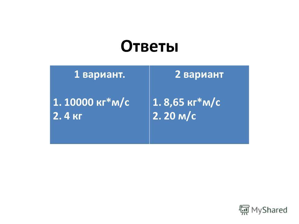 Ответы 1 вариант. 1.10000 кг*м/с 2.4 кг 2 вариант 1.8,65 кг*м/с 2.20 м/с
