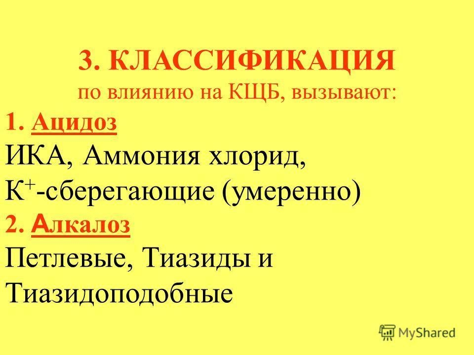 3. КЛАССИФИКАЦИЯ по влиянию на КЩБ, вызывают: 1. Ацидоз ИКА, Аммония хлорид, К + -сберегающие (умеренно) 2. А лкалоз Петлевые, Тиазиды и Тиазидоподобные