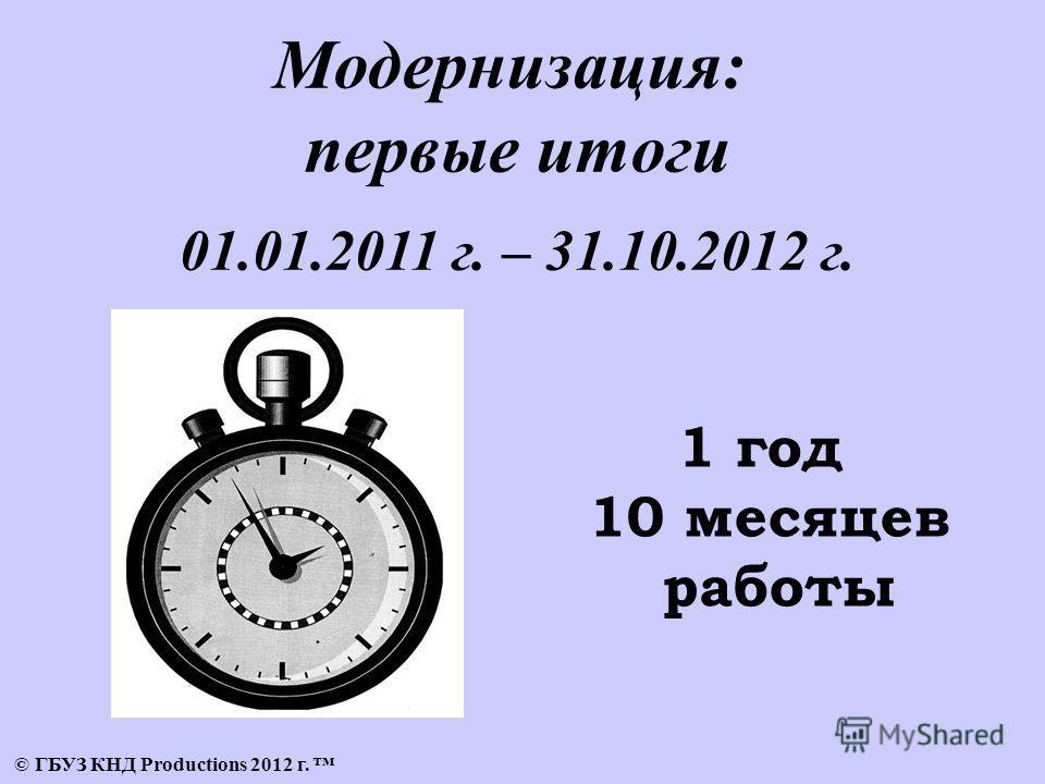 © ГБУЗ КНД Productions 2012 г. Модернизация: первые итоги 01.01.2011 г. – 31.10.2012 г. 1 год 10 месяцев работы