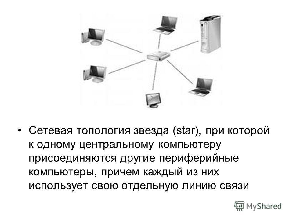 Cетевая топология звезда (star), при которой к одному центральному компьютеру присоединяются другие периферийные компьютеры, причем каждый из них использует свою отдельную линию связи