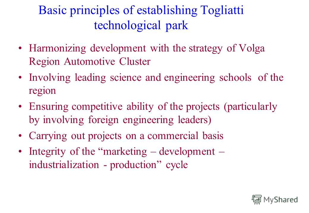 Basic principles of establishing Togliatti technological park Harmonizing development with the strategy of Volga Region Automotive Cluster Involving leading science and engineering schools of the region Ensuring competitive ability of the projects (p
