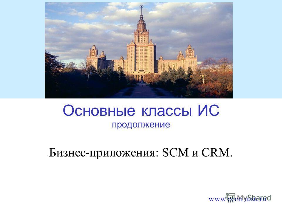 www.econ.msu.ru Основные классы ИС продолжение Бизнес-приложения: SCM и CRM.