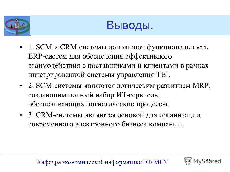 Выводы. 1. SCM и CRM системы дополняют функциональность ERP-систем для обеспечения эффективного взаимодействия с поставщиками и клиентами в рамках интегрированной системы управления TEI. 2. SCM-системы являются логическим развитием MRP, создающим пол