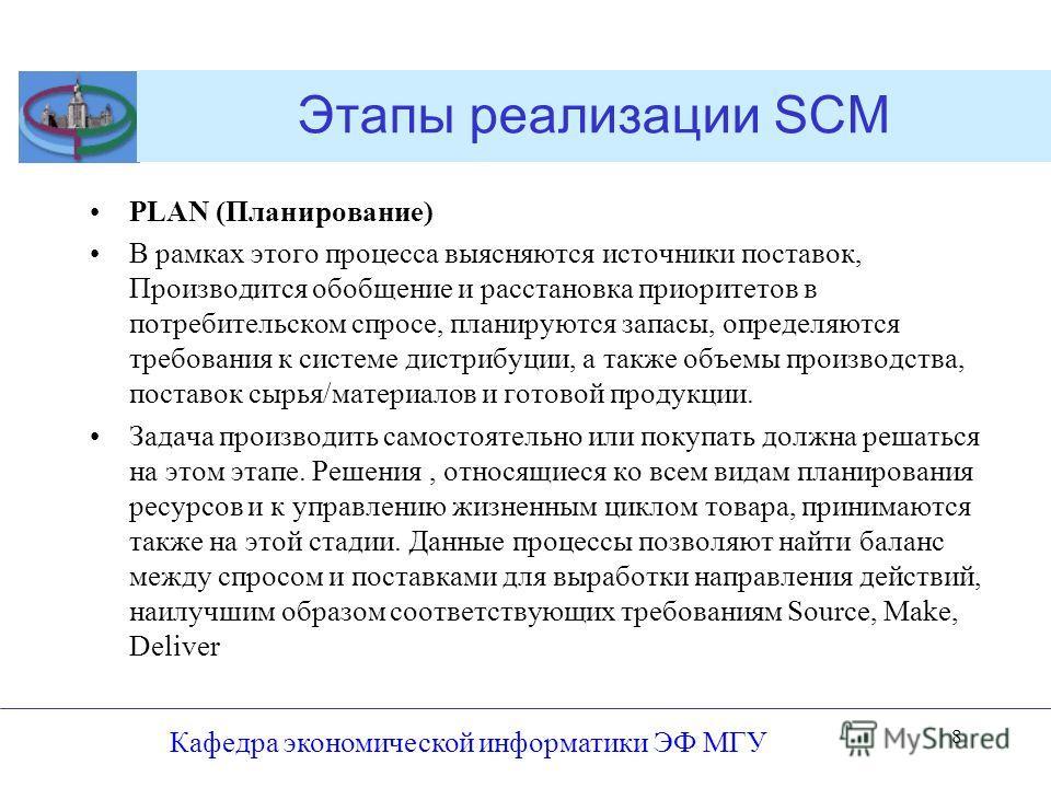 Этапы реализации SCM PLAN (Планирование) В рамках этого процесса выясняются источники поставок, Производится обобщение и расстановка приоритетов в потребительском спросе, планируются запасы, определяются требования к системе дистрибуции, а также объе