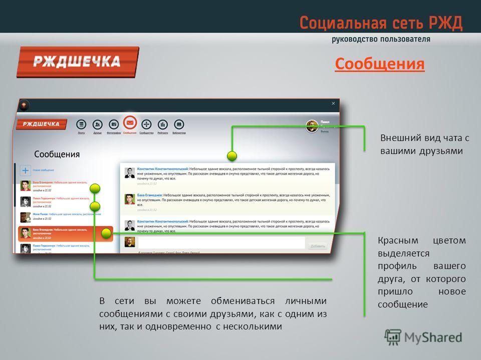 В сети вы можете обмениваться личными сообщениями с своими друзьями, как с одним из них, так и одновременно с несколькими Красным цветом выделяется профиль вашего друга, от которого пришло новое сообщение Внешний вид чата с вашими друзьями