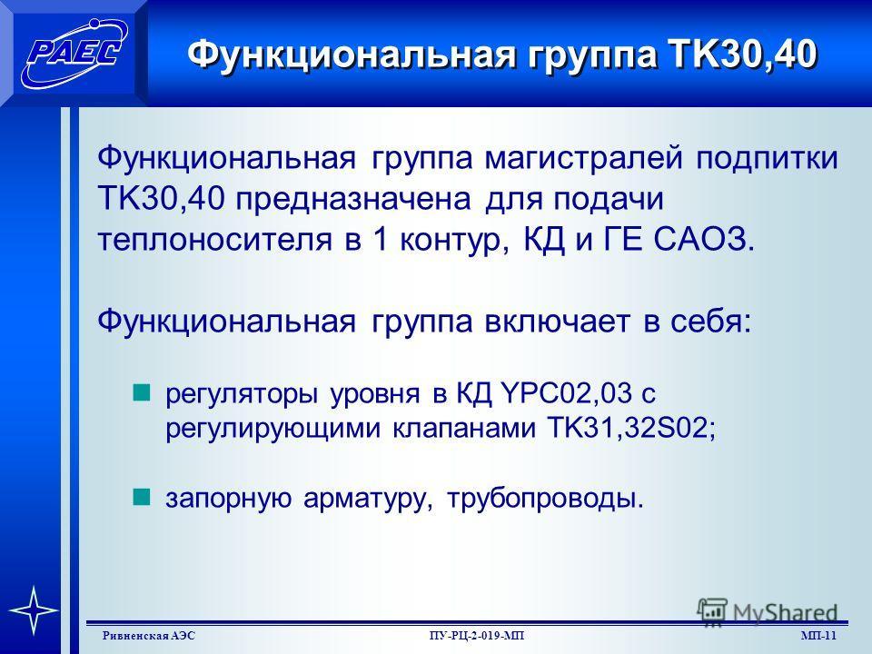 МП-9Ривненская АЭСПУ-РЦ-2-019-МП Функциональная группа ТК10 Фунциональная группа TK10 предназначена для дегазации ТПК и орг. протечек, и подачи ТПК во всасывающий коллектор подпиточных агрегатов. Группа включает в себя: деаэратор подпитки TK10B01; ох