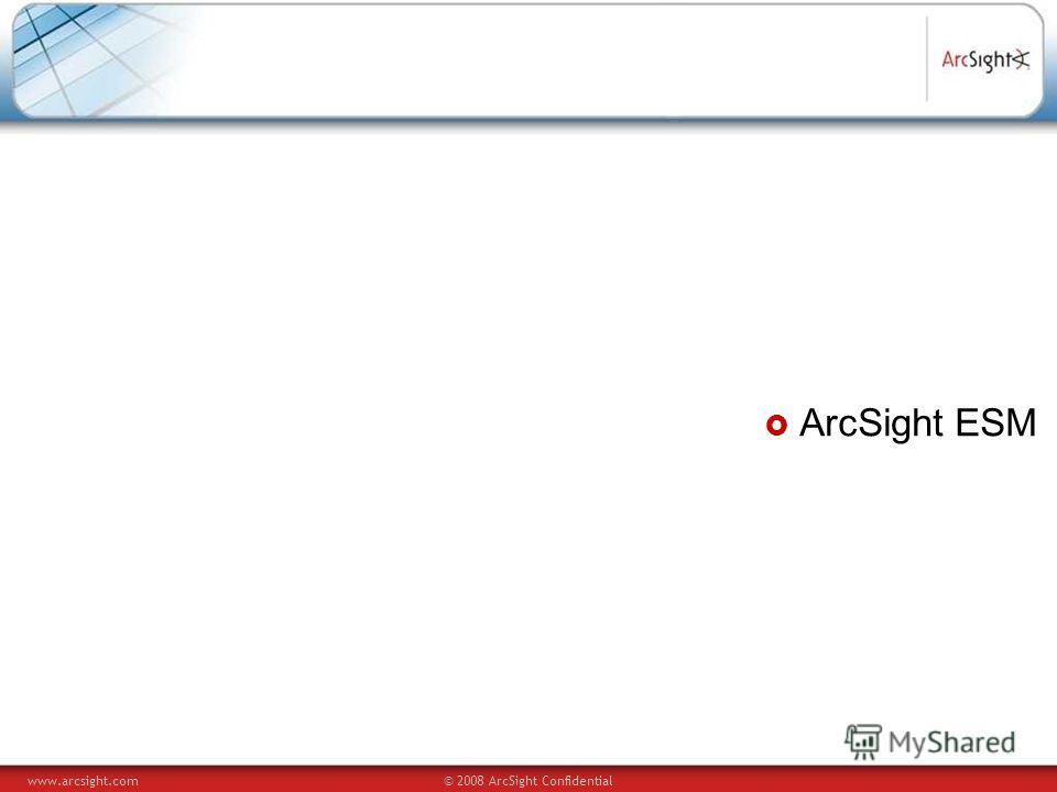 www.arcsight.com© 2008 ArcSight Confidential ArcSight ESM
