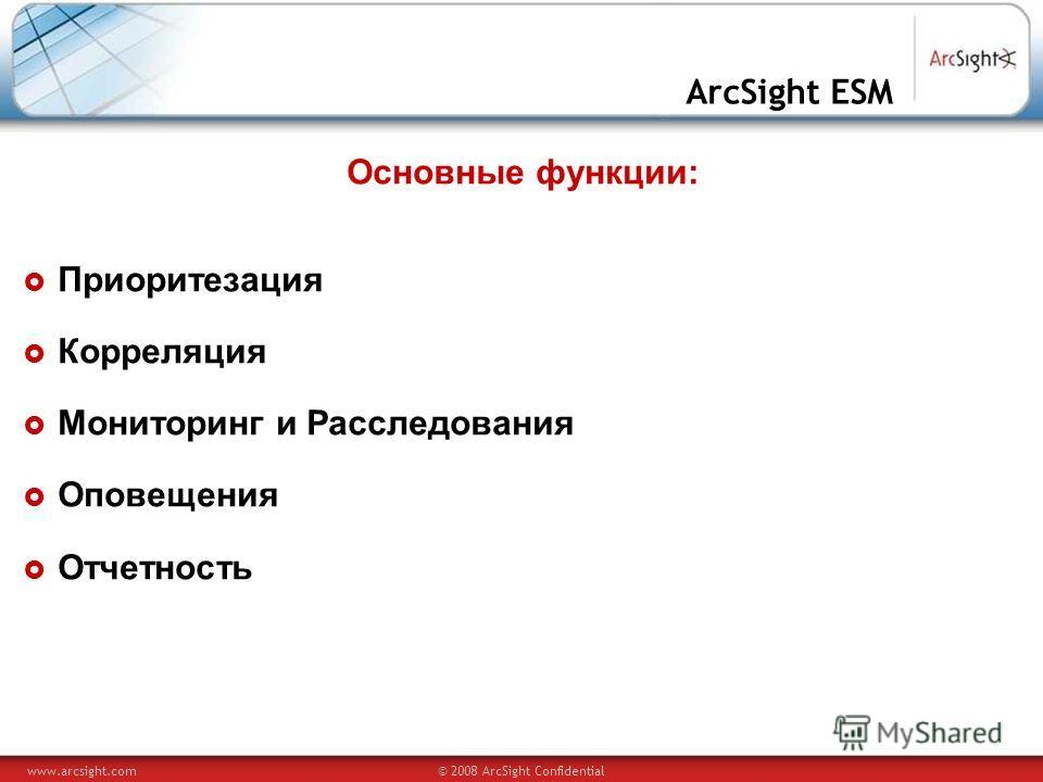www.arcsight.com© 2008 ArcSight Confidential ArcSight ESM Основные функции: Приоритезация Корреляция Мониторинг и Расследования Оповещения Отчетность
