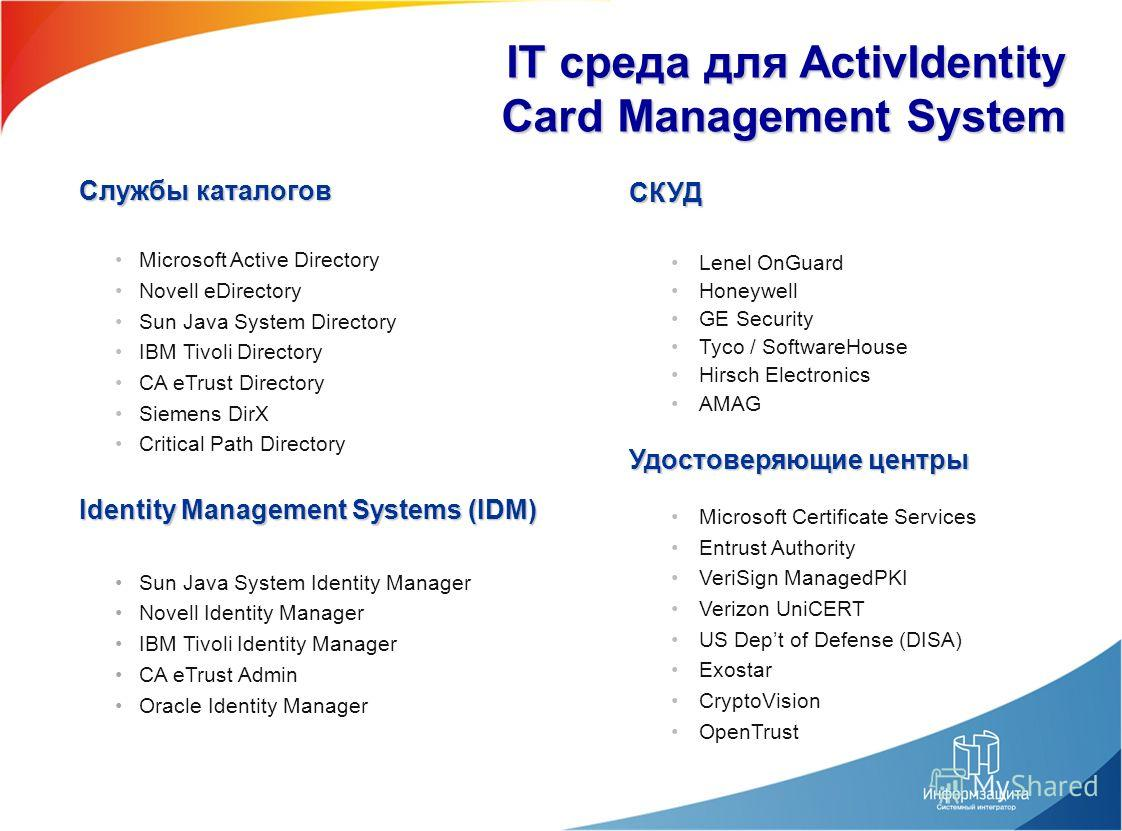 IT среда для ActivIdentity Card Management System Службы каталогов Microsoft Active Directory Novell eDirectory Sun Java System Directory IBM Tivoli Directory CA eTrust Directory Siemens DirX Critical Path Directory Identity Management Systems (IDM)