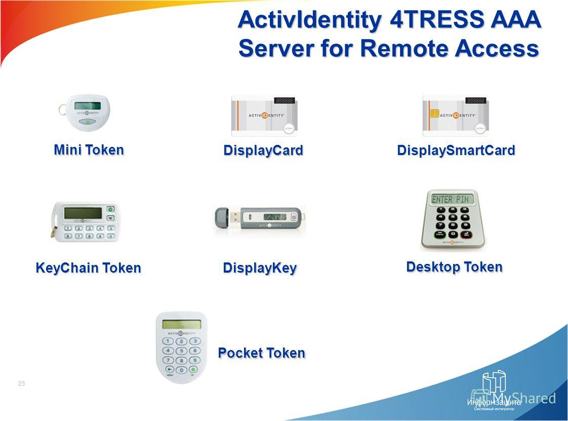 25 ActivIdentity 4TRESS AAA Server for Remote Access Mini Token DisplayCard DisplaySmartCard KeyChain Token DisplayKey Desktop Token Pocket Token