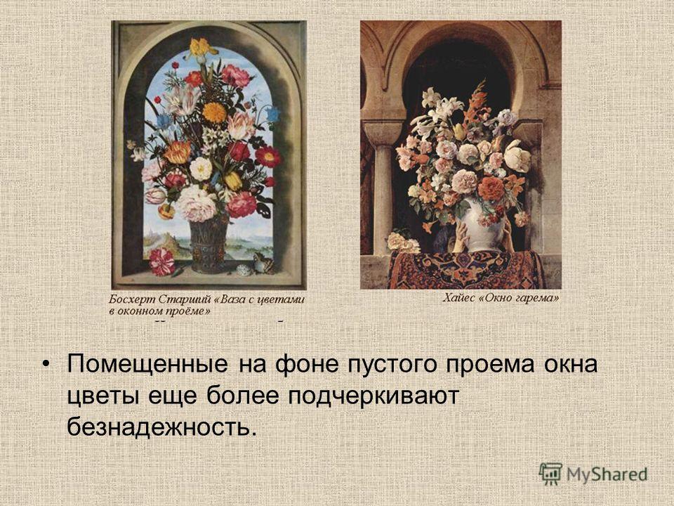 Помещенные на фоне пустого проема окна цветы еще более подчеркивают безнадежность.