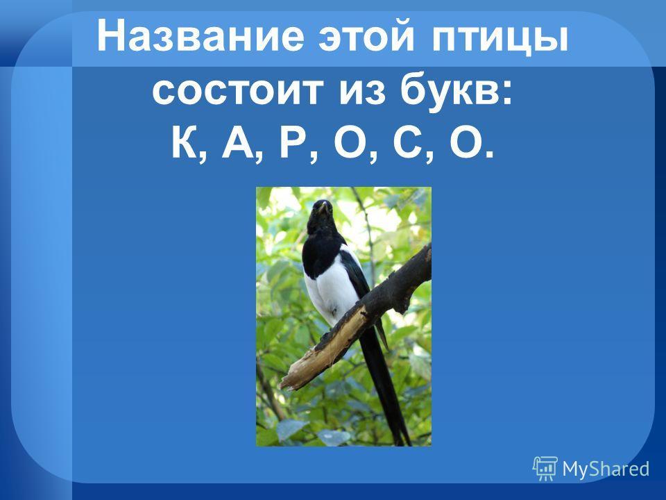 Название этой птицы состоит из букв: К, А, Р, О, С, О.