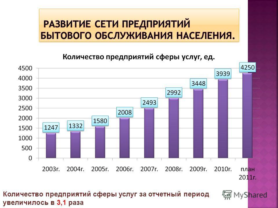 Количество предприятий сферы услуг за отчетный период увеличилось в 3,1 раза