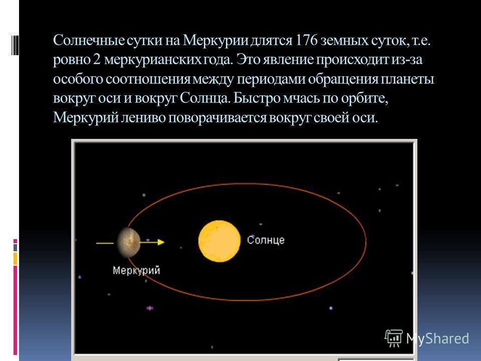Солнечные сутки на Меркурии длятся 176 земных суток, т.е. ровно 2 меркурианских года. Это явление происходит из-за особого соотношения между периодами обращения планеты вокруг оси и вокруг Солнца. Быстро мчась по орбите, Меркурий лениво поворачиваетс