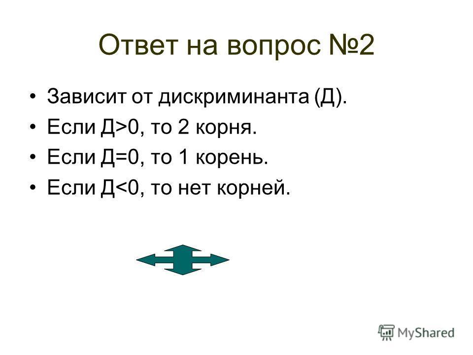 Вопрос 2 От чего и как зависит количество корней квадратного уравнения?