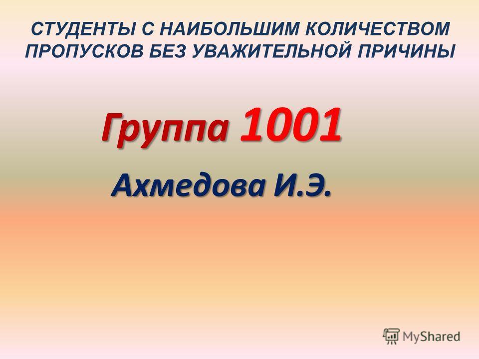 СТУДЕНТЫ С НАИБОЛЬШИМ КОЛИЧЕСТВОМ ПРОПУСКОВ БЕЗ УВАЖИТЕЛЬНОЙ ПРИЧИНЫ Группа 1001 Ахмедова И.Э.