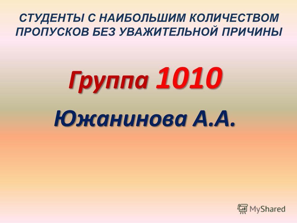 СТУДЕНТЫ С НАИБОЛЬШИМ КОЛИЧЕСТВОМ ПРОПУСКОВ БЕЗ УВАЖИТЕЛЬНОЙ ПРИЧИНЫ Группа 1010 Южанинова А.А.