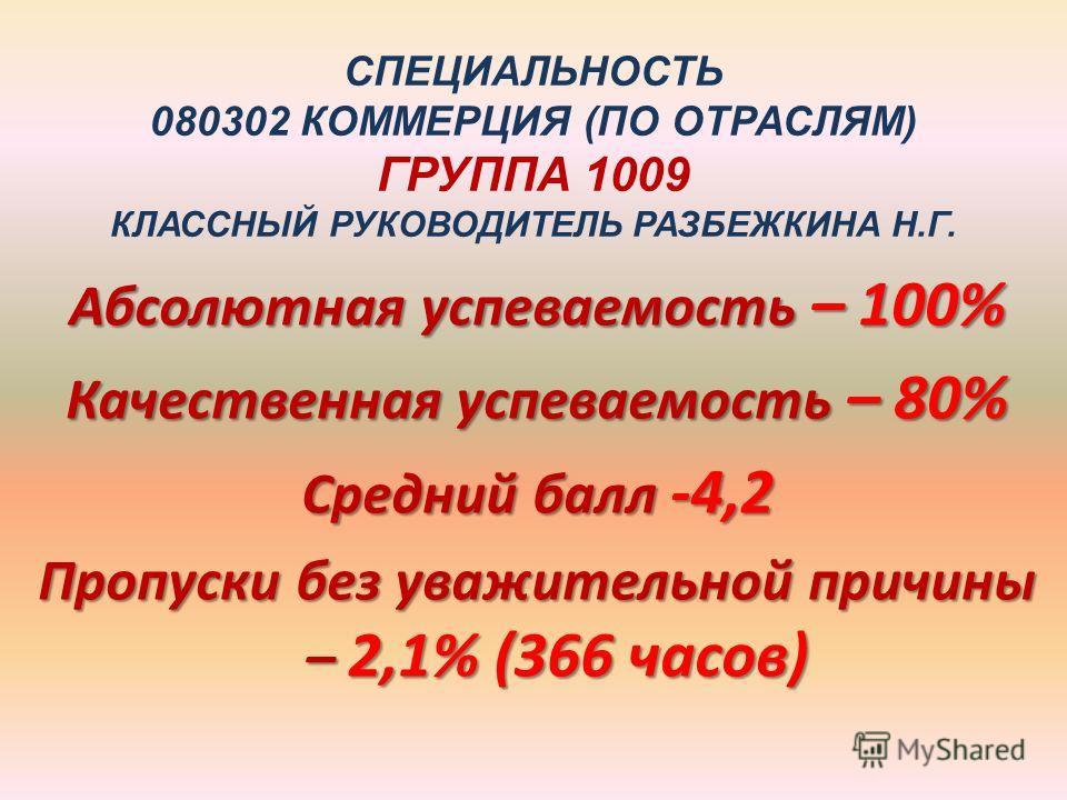 СПЕЦИАЛЬНОСТЬ 080302 КОММЕРЦИЯ (ПО ОТРАСЛЯМ) ГРУППА 1009 КЛАССНЫЙ РУКОВОДИТЕЛЬ РАЗБЕЖКИНА Н.Г. Абсолютная успеваемость – 100% Качественная успеваемость – 80% Средний балл -4,2 Пропуски без уважительной причины – 2,1% (366 часов)