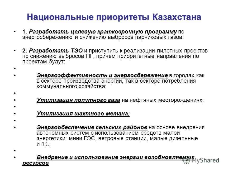 Национальные приоритеты Казахстана Разработать целевую краткосрочную программу1. Разработать целевую краткосрочную программу по энергосбережению и снижению выбросов парниковых газов; Разработать ТЭО2. Разработать ТЭО и приступить к реализации пилотны