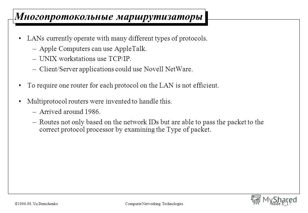 ©1996-98. Yu.DemchenkoComputer Networking Technologies Slide 8_17 Многопротокольные маршрутизаторы LANs currently operate with many different types of protocols. –Apple Computers can use AppleTalk. –UNIX workstations use TCP/IP. –Client/Server applic