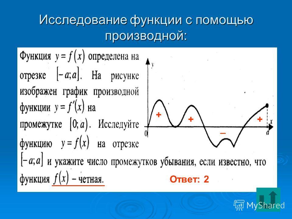 Исследование функции с помощью производной: Ответ: 2 + ++ _