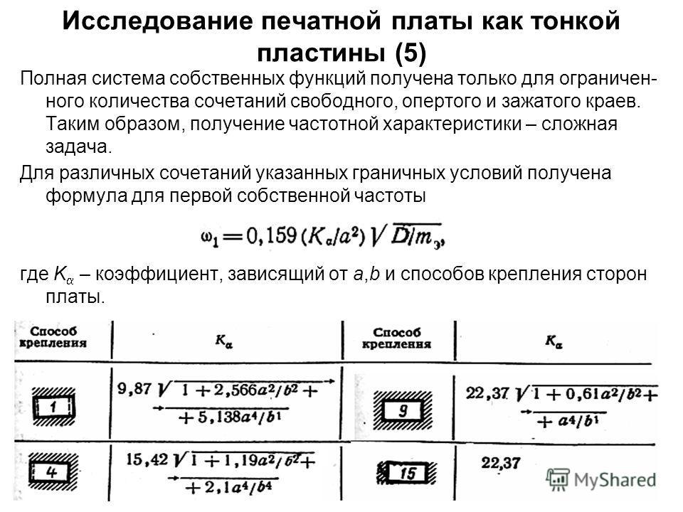34 Исследование печатной платы как тонкой пластины (5) Полная система собственных функций получена только для ограничен- ного количества сочетаний свободного, опертого и зажатого краев. Таким образом, получение частотной характеристики – сложная зада