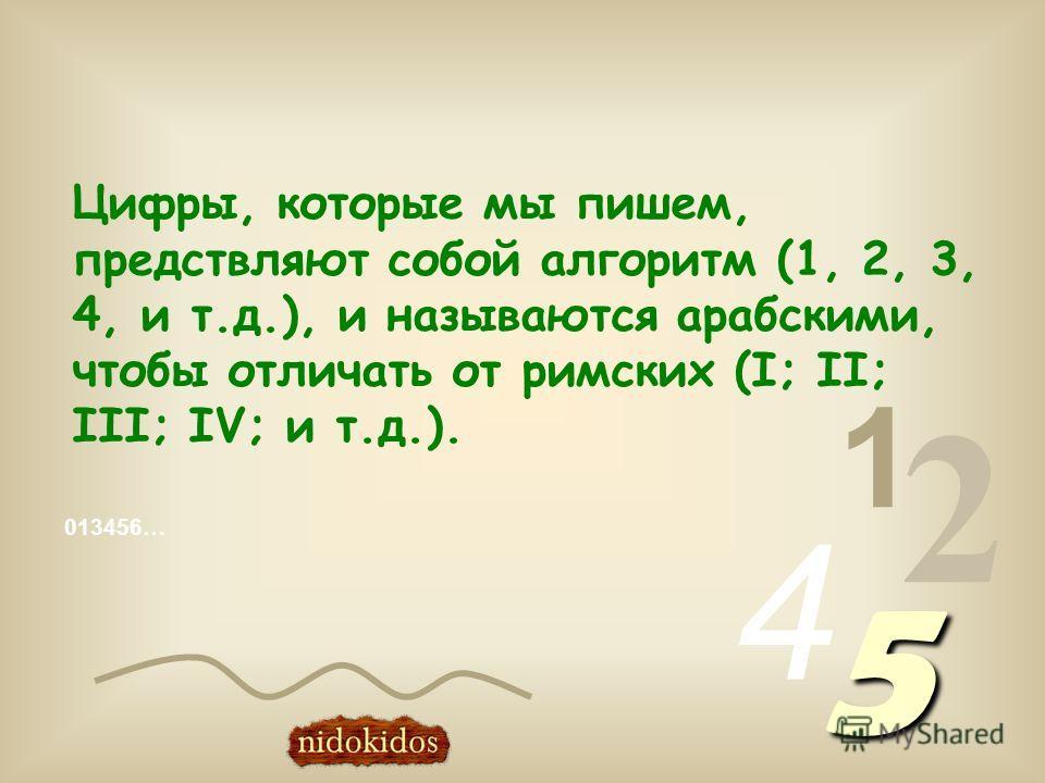 Цифры, которые мы пишем, предствляют собой алгоритм (1, 2, 3, 4, и т.д.), и называются арабскими, чтобы отличать от римских (I; II; III; IV; и т.д.). 013456… 1 2 4 5