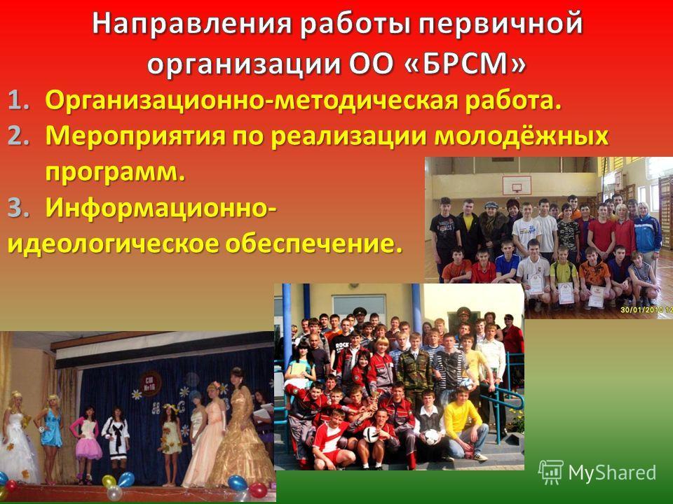 1.Организационно - методическая работа. 2.Мероприятия по реализации молодёжных программ. 3.Информационно - идеологическое обеспечение.