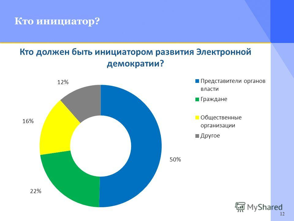 12 Кто инициатор? Кто должен быть инициатором развития Электронной демократии?