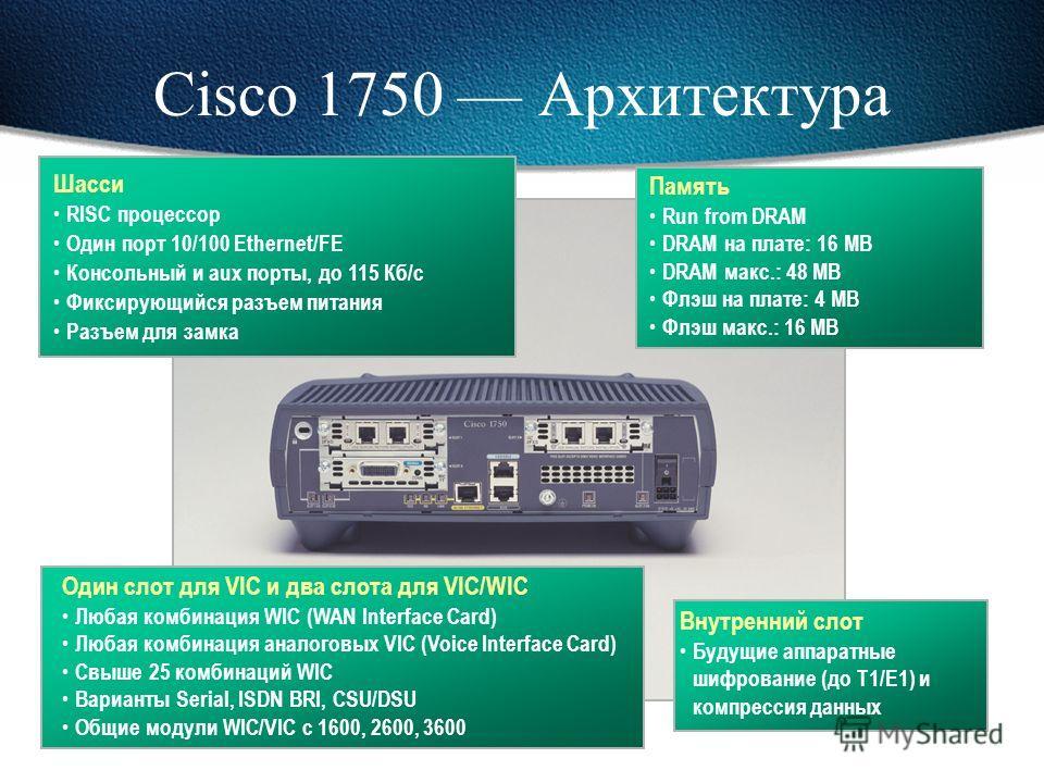 Cisco 1750 Мультисервисный шлюз для малого бизнеса Устройство доступа к VPN Высокопроизводительное шифрование Динамический межсетевой экран Тунелирование VPN (GRE, IPsec, L2F, L2TP) Маршрутизатор доступа Многопротокольная маршрутизация Порты WAN разн