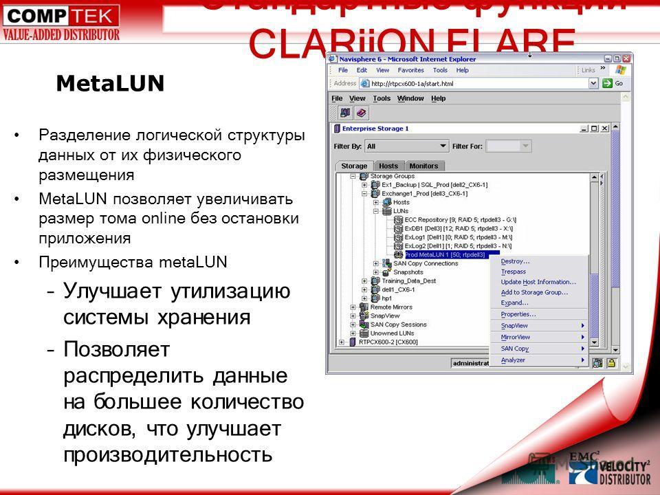Стандартные функции CLARiiON FLARE Разделение логической структуры данных от их физического размещения MetaLUN позволяет увеличивать размер тома online без остановки приложения Преимущества metaLUN –Улучшает утилизацию системы хранения –Позволяет рас