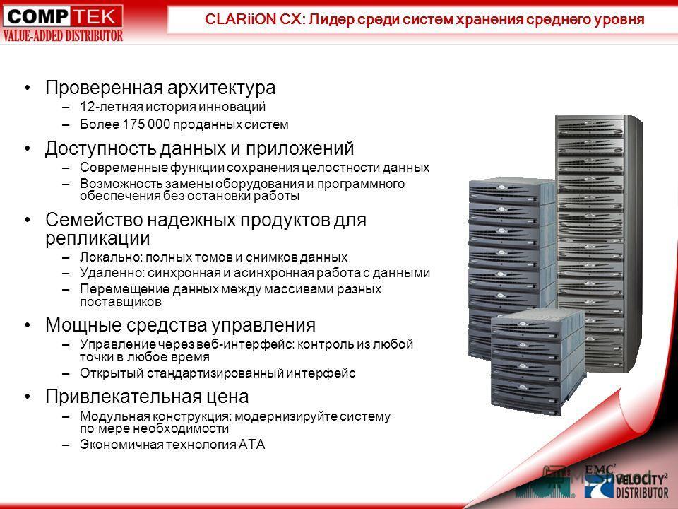 CLARiiON CX: Лидер среди систем хранения среднего уровня Проверенная архитектура –12-летняя история инноваций –Более 175 000 проданных систем Доступность данных и приложений –Современные функции сохранения целостности данных –Возможность замены обору