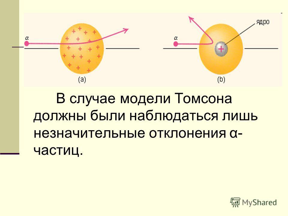 В случае модели Томсона должны были наблюдаться лишь незначительные отклонения α- частиц.