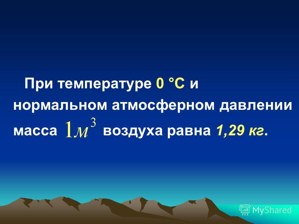 При температуре 0 °C и нормальном атмосферном давлении масса воздуха равна 1,29 кг.