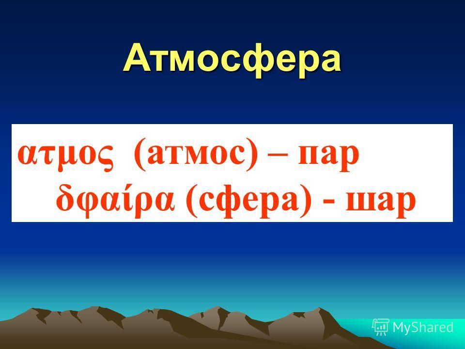 Атмосфера ατμος (атмос) – пар δφαίρα (сфера) - шар