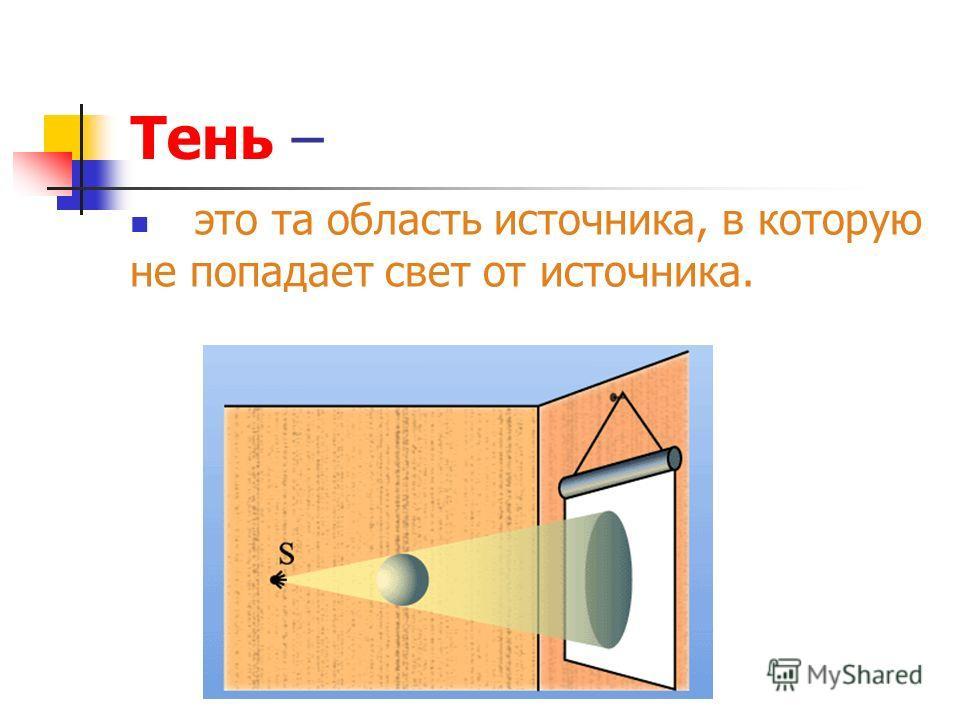 Тень – это та область источника, в которую не попадает свет от источника.
