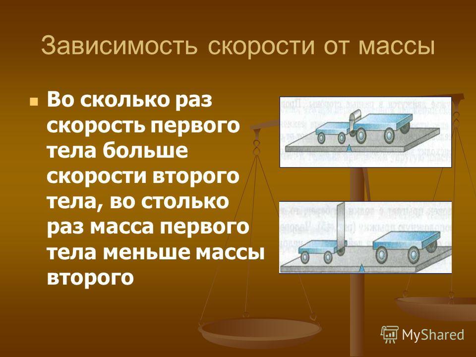 Зависимость скорости от массы Во сколько раз скорость первого тела больше скорости второго тела, во столько раз масса первого тела меньше массы второго