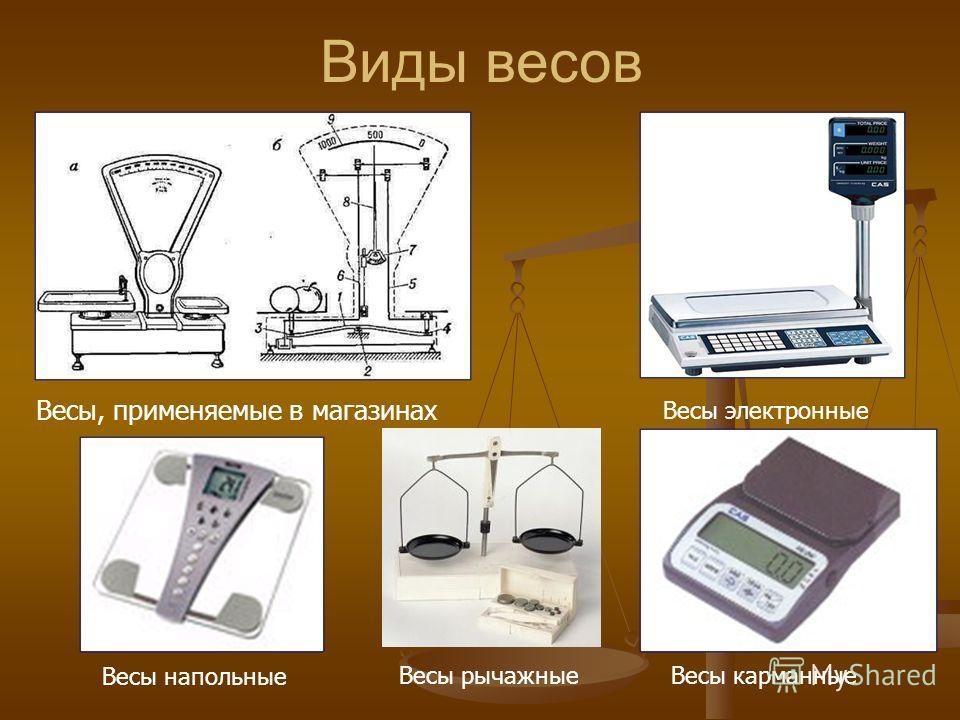 Виды весов Весы, применяемые в магазинах Весы электронные Весы напольные Весы рычажныеВесы карманные