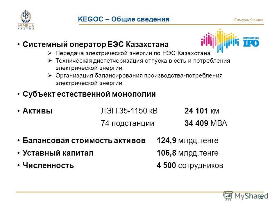 Самрук-Казына 22 Системный оператор ЕЭС Казахстана Передача электрической энергии по НЭС Казахстана Техническая диспетчеризация отпуска в сеть и потребления электрической энергии Организация балансирования производства-потребления электрической энерг