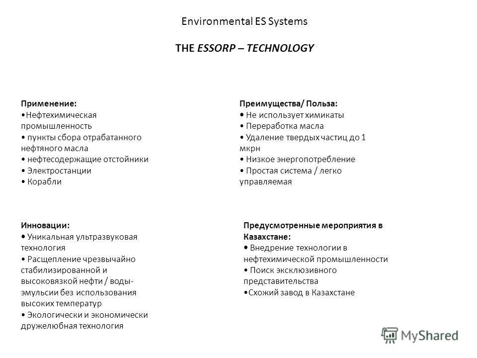 Environmental ES Systems THE ESSORP – TECHNOLOGY Применение: Нефтехимическая промышленность пункты сбора отрабатанного нефтяного масла нефтесодержащие отстойники Электростанции Корабли Преимущества/ Польза: Не использует химикаты Переработка масла Уд