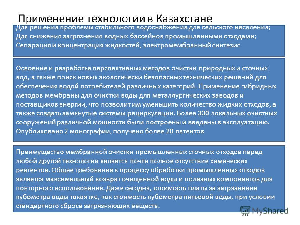 Применение технологии в Казахстане Для решения проблемы стабильного водоснабжения для сельского населения; Для снижения загрязнения водных бассейнов промышленными отходами; Сепарация и концентрация жидкостей, электромембранный синтезис Освоение и раз