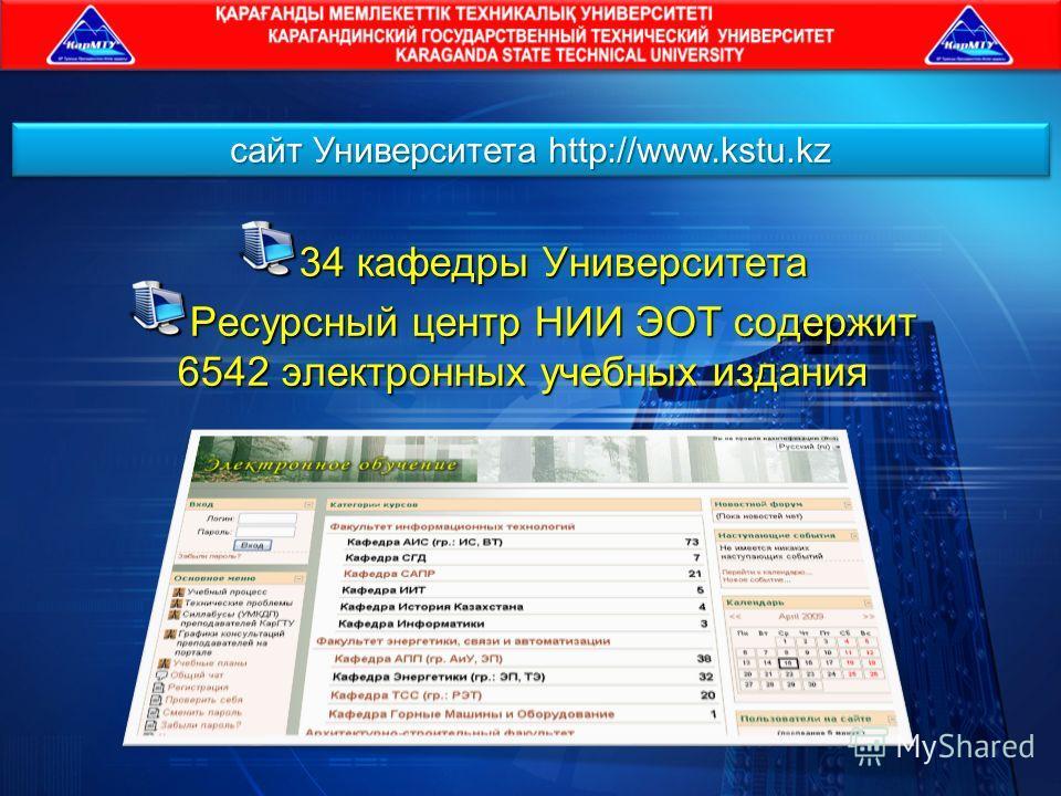 34 кафедры Университета Ресурсный центр НИИ ЭОТ содержит 6542 электронных учебных издания сайт Университета http://www.kstu.kz