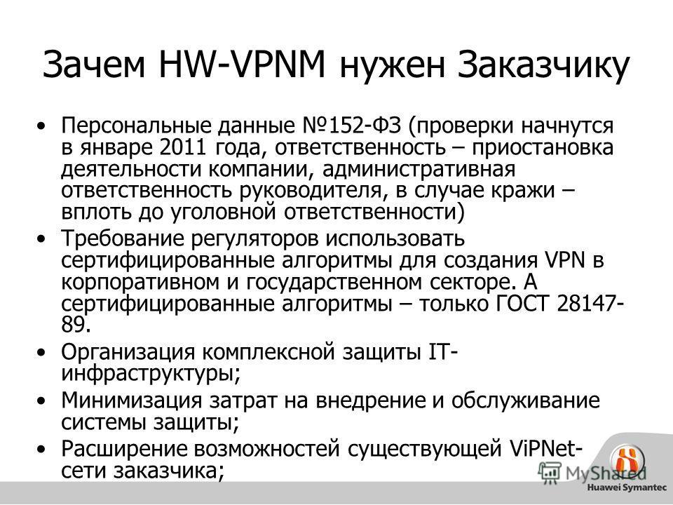 Зачем HW-VPNM нужен Заказчику Персональные данные 152-ФЗ (проверки начнутся в январе 2011 года, ответственность – приостановка деятельности компании, административная ответственность руководителя, в случае кражи – вплоть до уголовной ответственности)